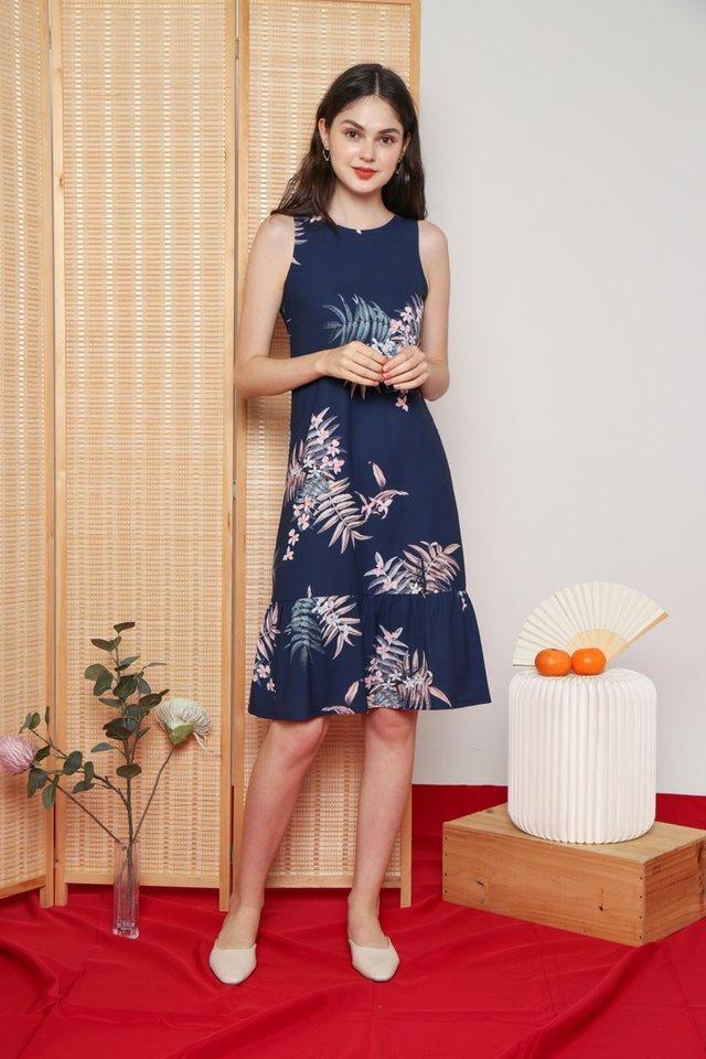 Galina Floral Dropwaist Dress in Navy