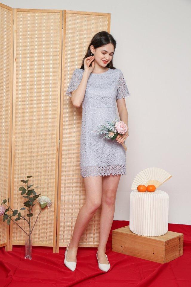Xoey Premium Crochet Sleeved Dress in Lavender Grey