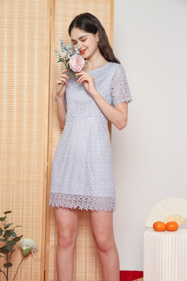 Xoey Premium Crochet Sleeved Dress in Lavender Grey