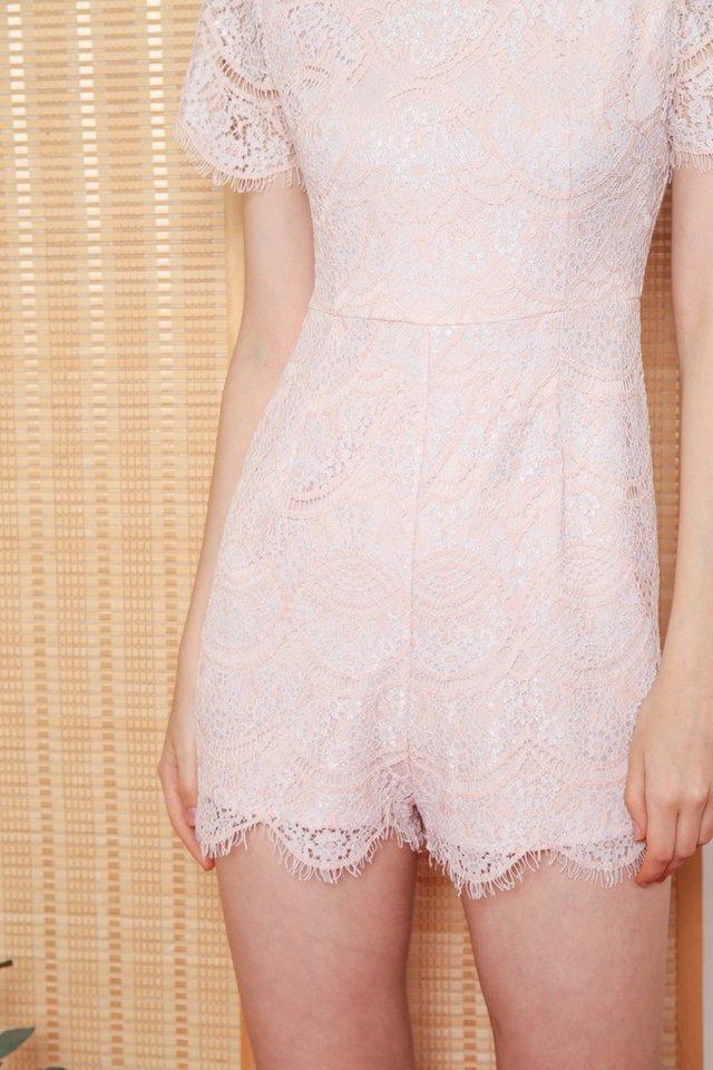 Valia Premium Lace Sleeved Romper in Pink