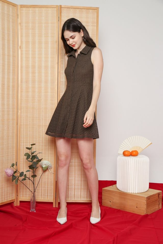 Nanette Premium Collared Eyelet Dress in Olive
