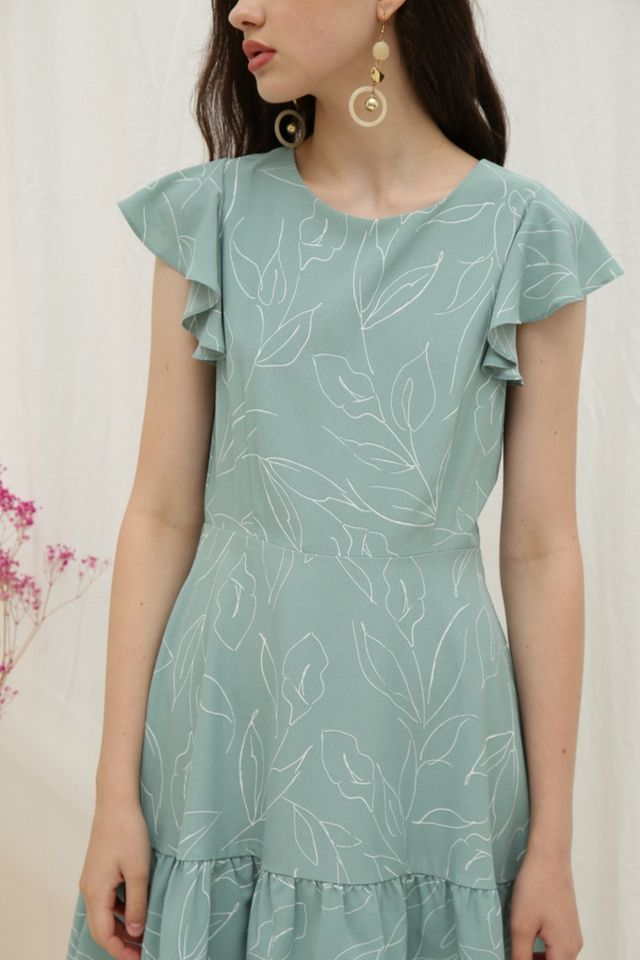 Alene Leaf Ruffled Hem Dress in Sage