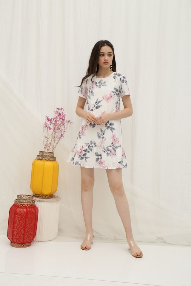 Velma Floral Dropwaist Dress in White