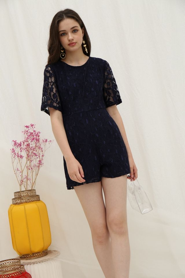 Paula Premium Lace Romper in Navy