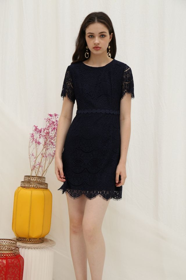 Jules Premium Lace Scallop Hem Dress in Navy