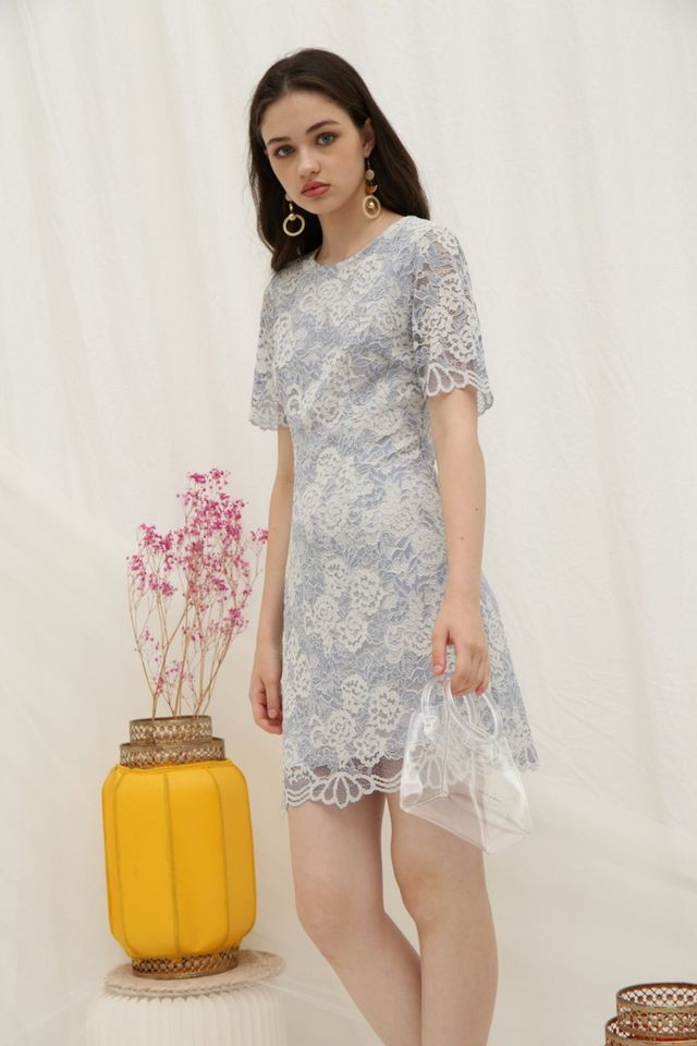 Melinda Premium Lace Dress in Blue (XS)