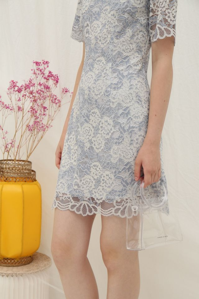 Melinda Premium Lace Dress in Blue