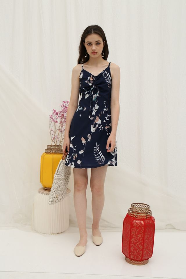 Cammy Ruched Floral Dress in Navy