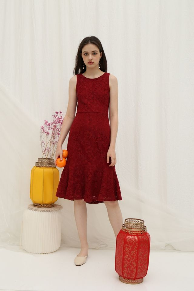 Christie Premium Lace Dropwaist Midi Dress in Red