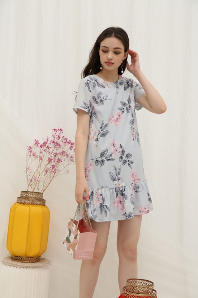 Velma Floral Dropwaist Dress in Grey