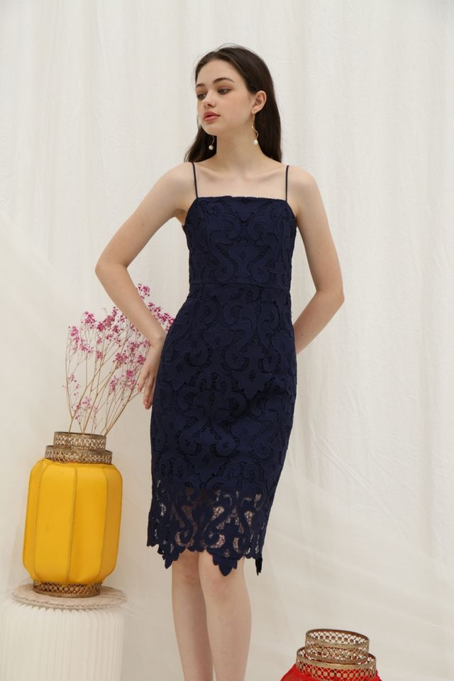 Hariet Premium Crochet Midi Dress in Navy