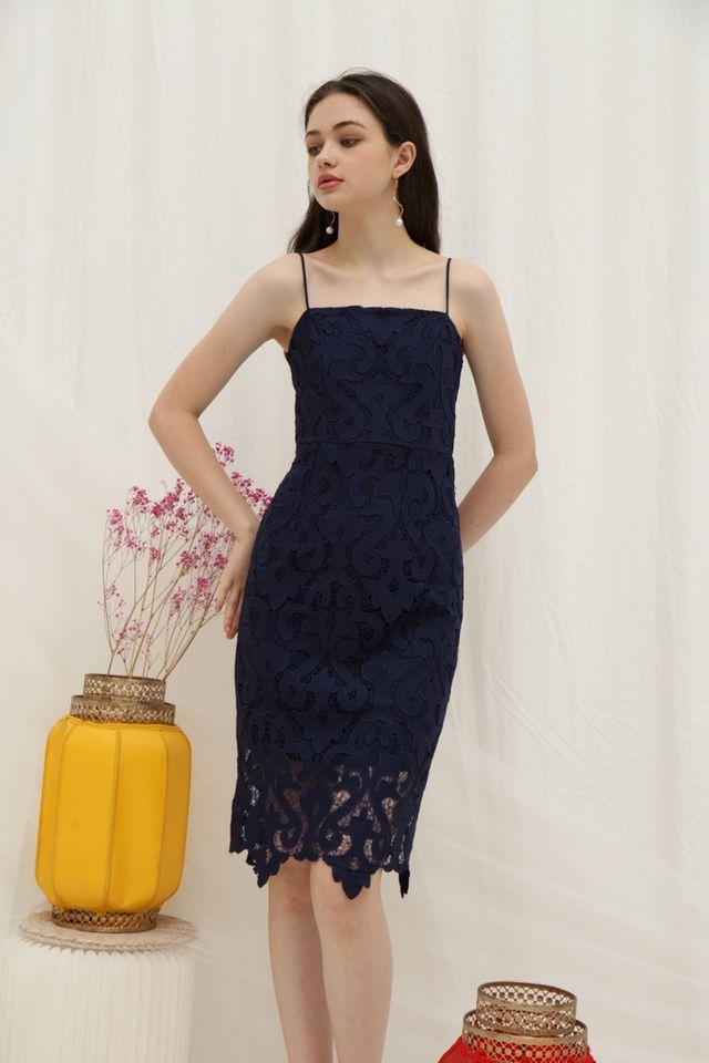 Hariet Premium Crochet Midi Dress in Navy
