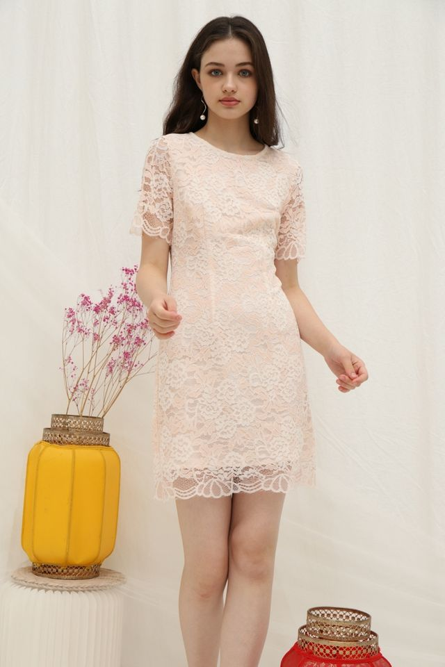 Melinda Premium Lace Dress in Peach
