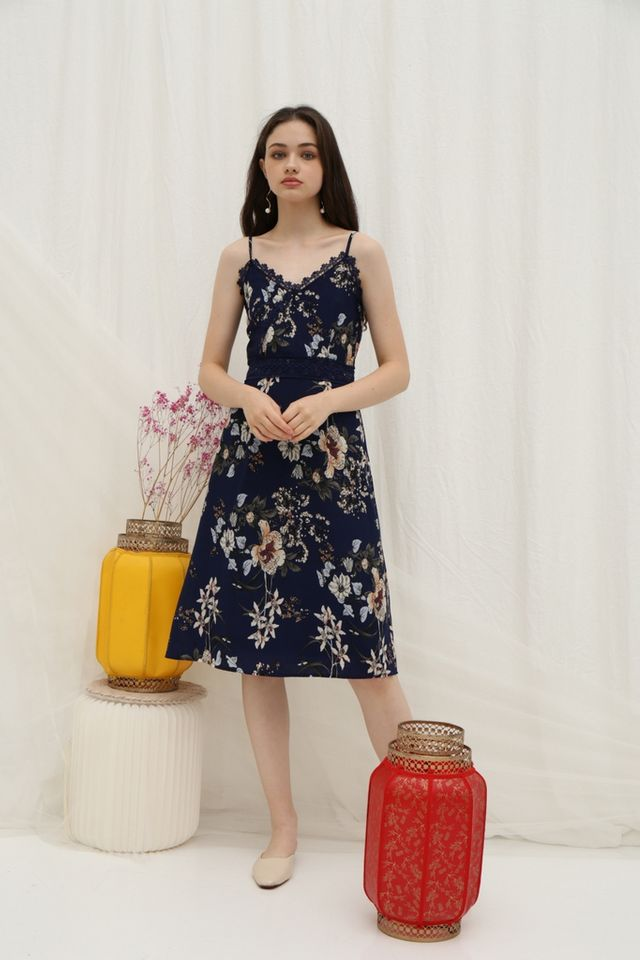 *Online Exclusive* Andra Floral Crochet Trim Midi Dress in Navy