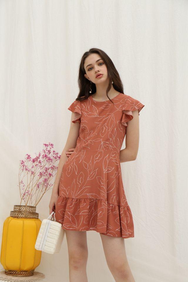 Alene Leaf Ruffled Hem Dress in Terracotta