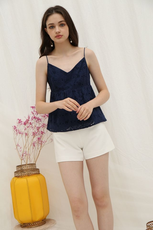 Evalyn Eyelet Babydoll Top in Navy