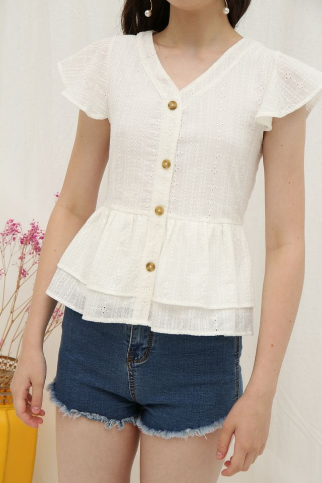 Joley Eyelet Ruffles Sleeved Top in White