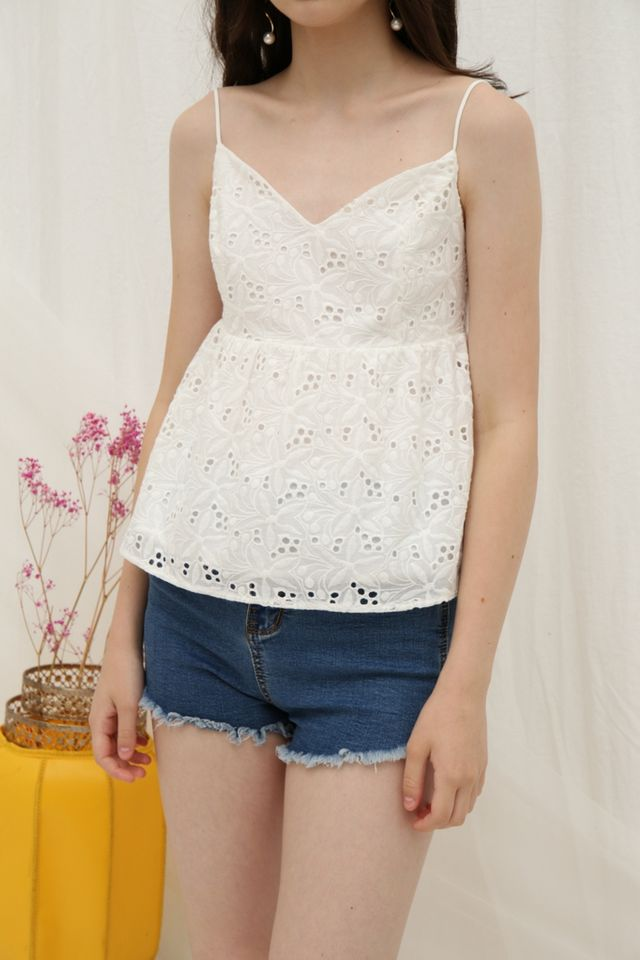 Evalyn Eyelet Babydoll Top in White