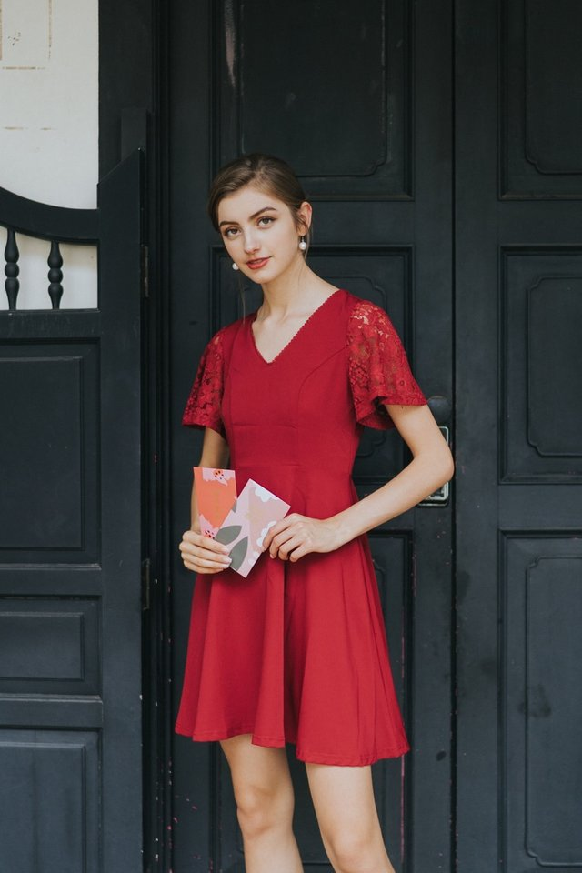 Abree Lace Sleeved Skater Dress in Red