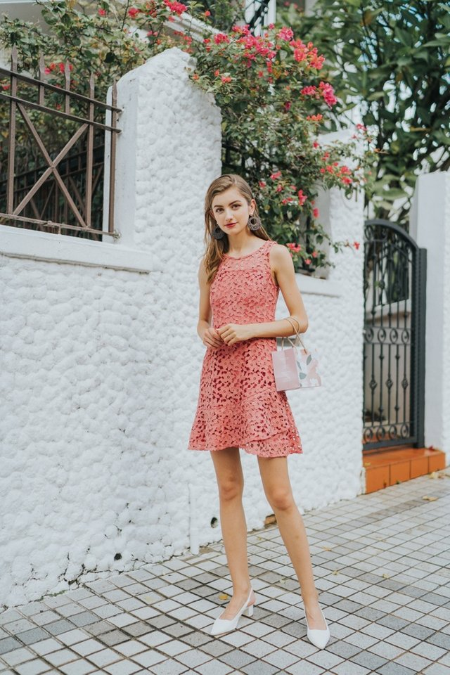 Grecia Premium Crochet Overlap Hem Dress in Coral (XS)