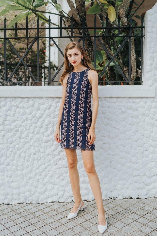Carla Premium Halter Lace Dress in Navy