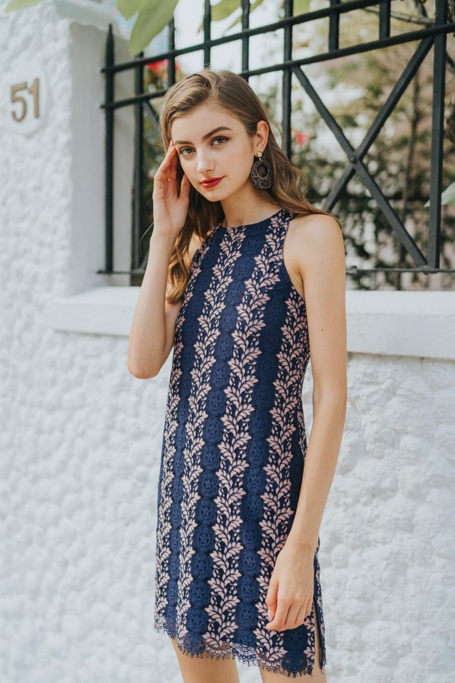 Carla Premium Halter Lace Dress in Navy (L)