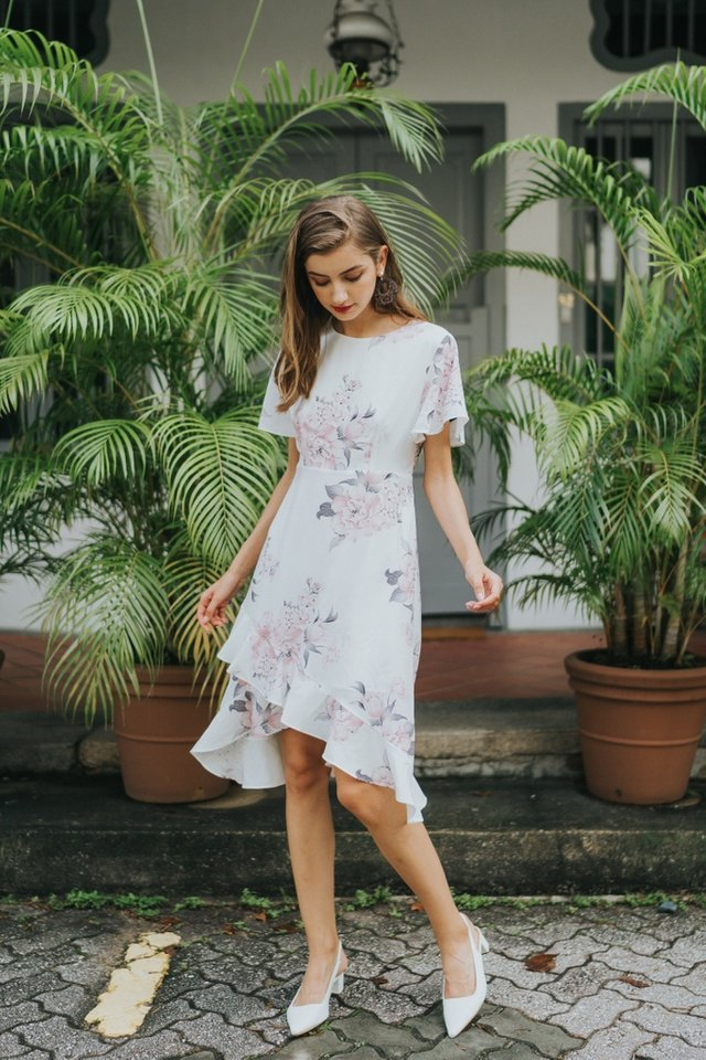 Emrys Floral Ruffles Hem Midi Dress in White