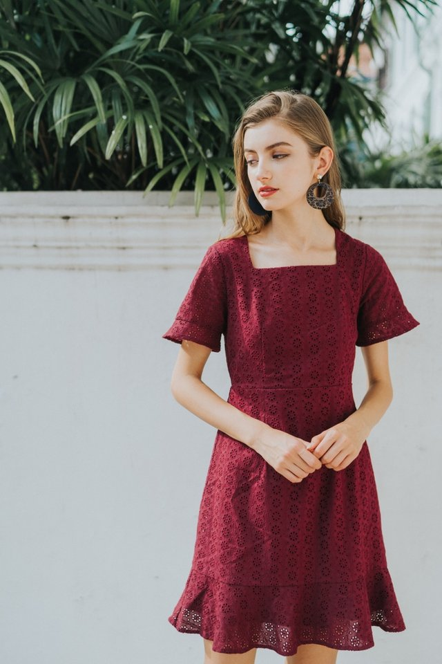 Brinley Eyelet Ruffles Hem Dress in Wine