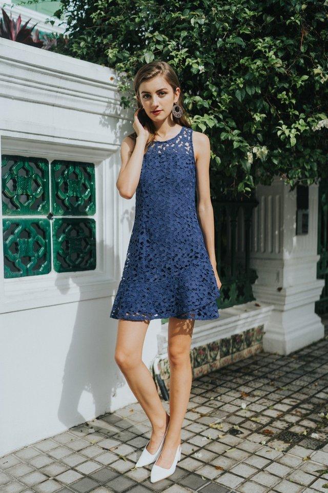 Grecia Premium Crochet Overlap Hem Dress in Navy