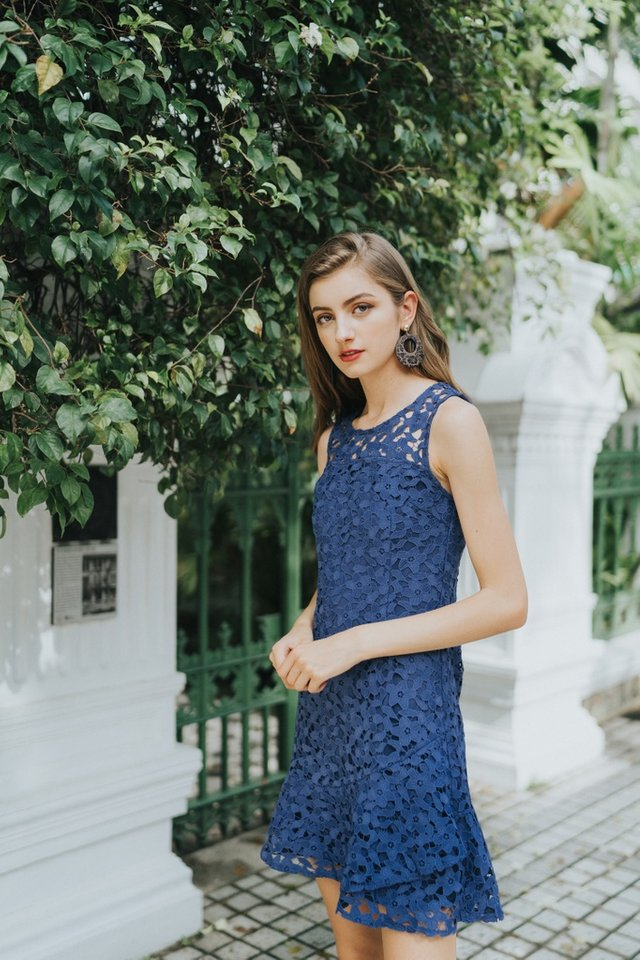 Grecia Premium Crochet Overlap Hem Dress in Navy