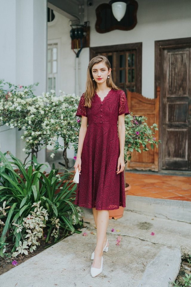 Trina Premium Lace Button Midi Dress in Wine