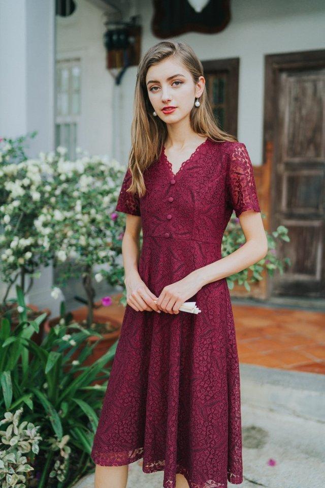 Trina Premium Lace Button Midi Dress in Wine