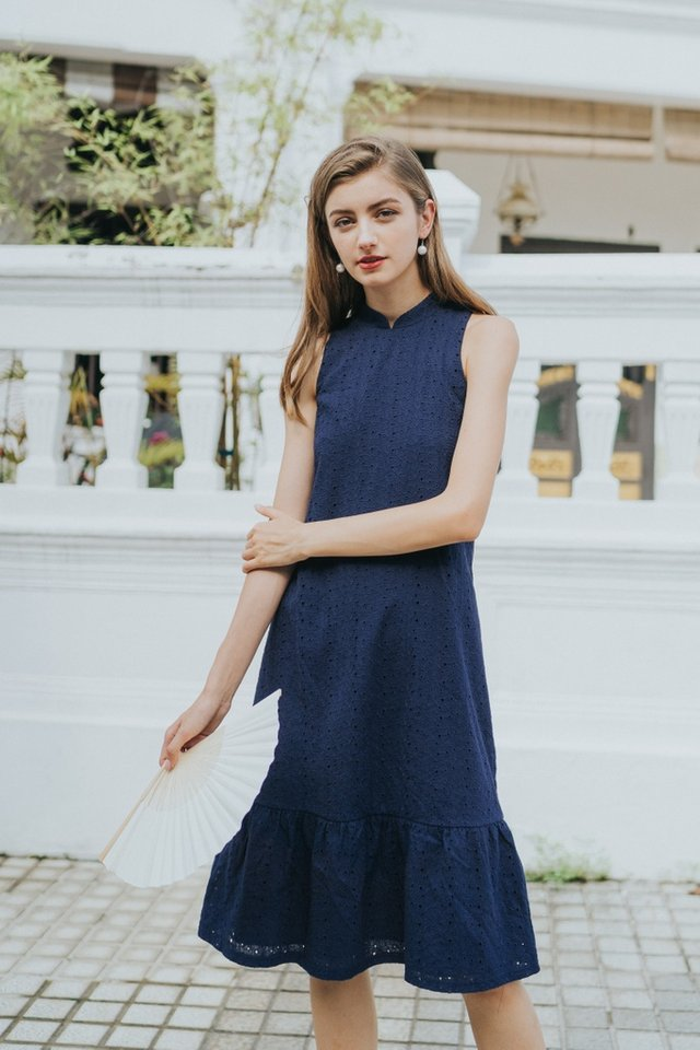 Tara Premium Eyelet Cheongsam Midi Dress in Navy