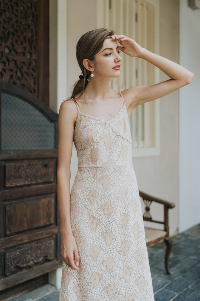 Janel Premium Bustier Lace Midi Dress in Champagne Nude