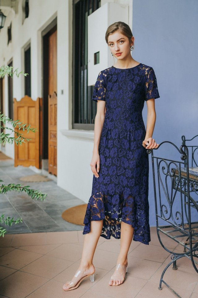 Afia Premium Ruffles Hi-Low Midi Dress in Navy