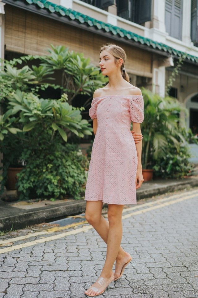 Gena Premium Eyelet 2-Way Button Dress in Pink