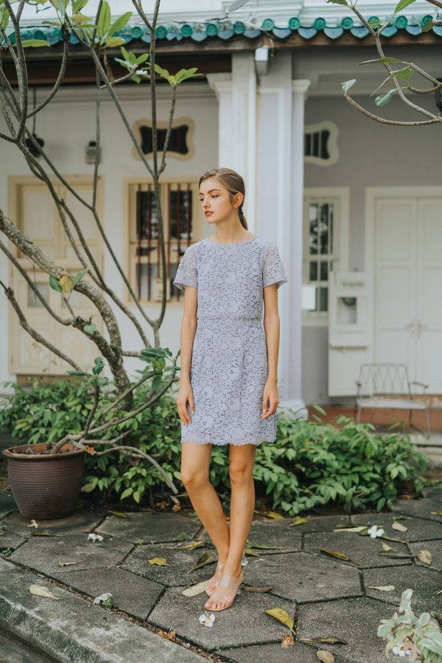 Gace Premium Lace Layered Sleeves Dress in Lavender Grey