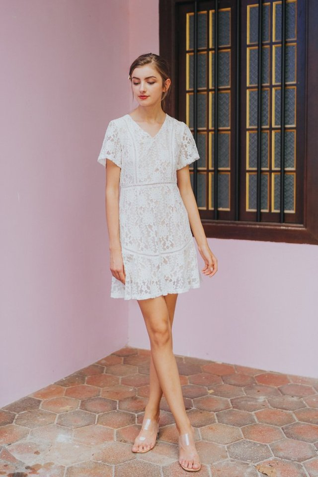 Quinn Premium Lace Dress in White