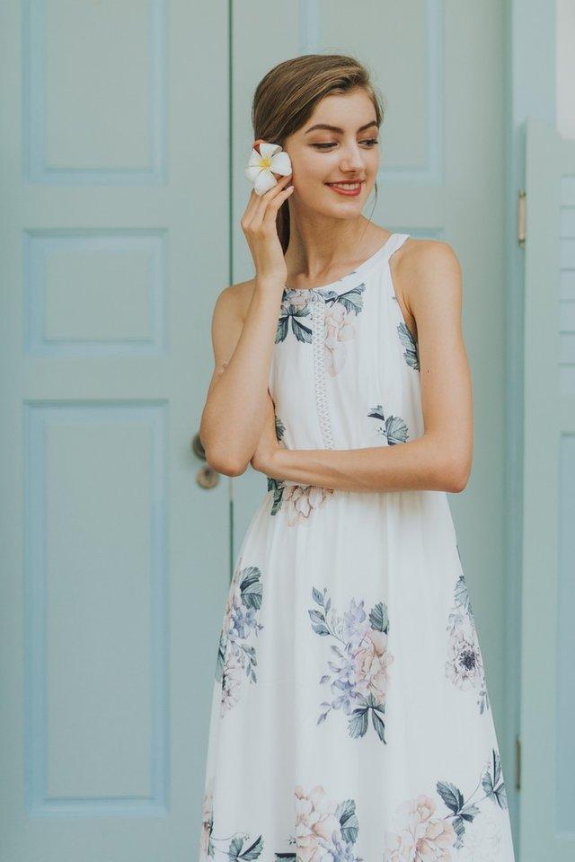 Jinny Halter Eyelet Trim Maxi Dress in White
