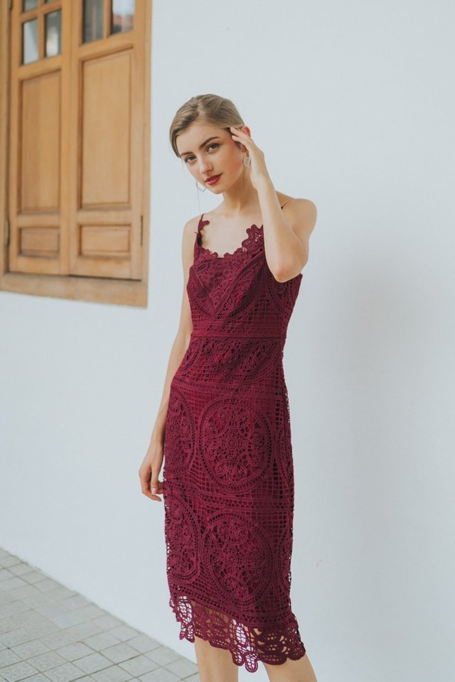 Kelsey Premium Crochet Midi Dress in Wine