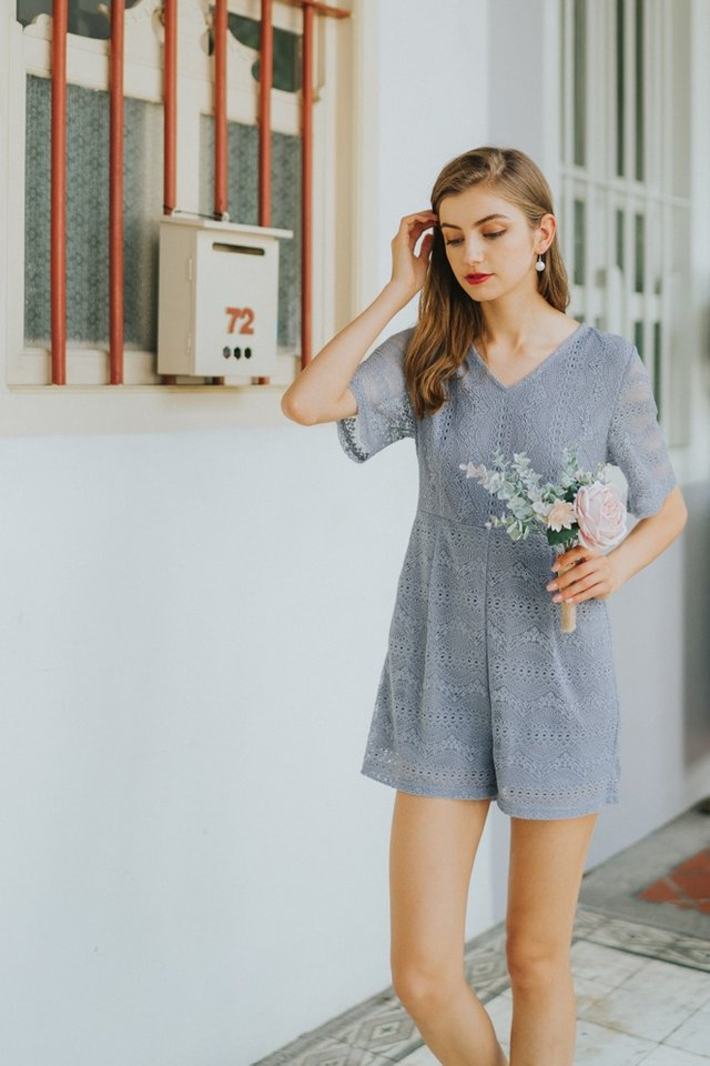 Bella Premium Lace Romper in Lavender Grey