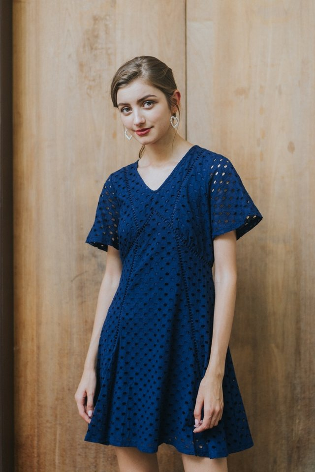 Bonita Premium Eyelet Skater Dress in Navy