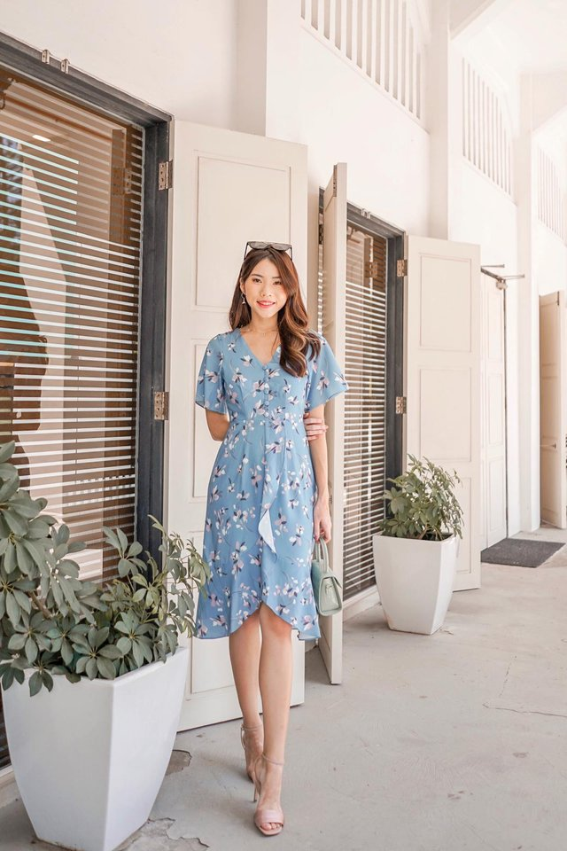 Damica Floral Ruffled Midi Dress in Sapphire Blue