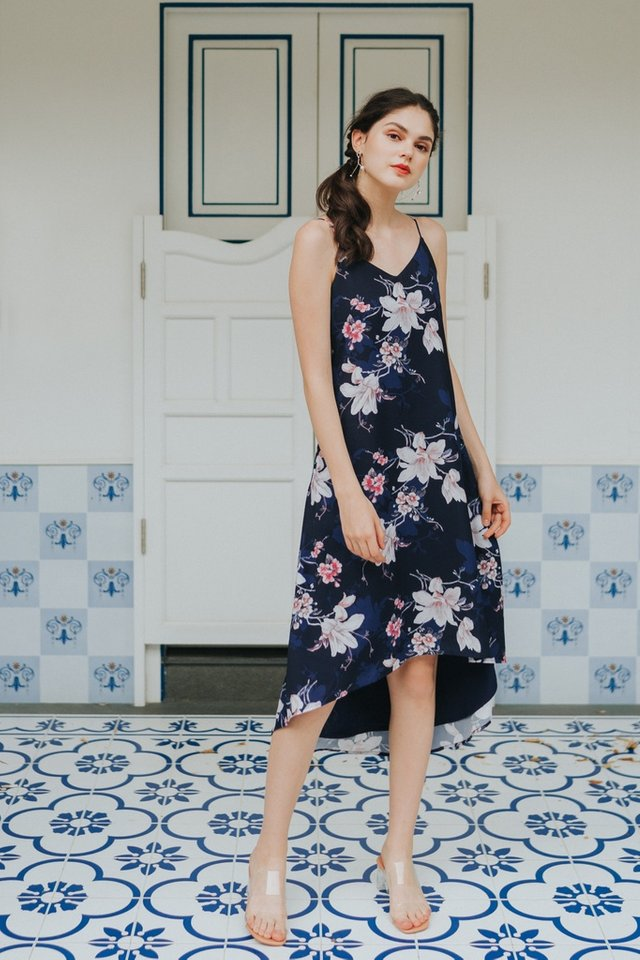 Gayla Floral Hi-Low Midi Dress in Navy