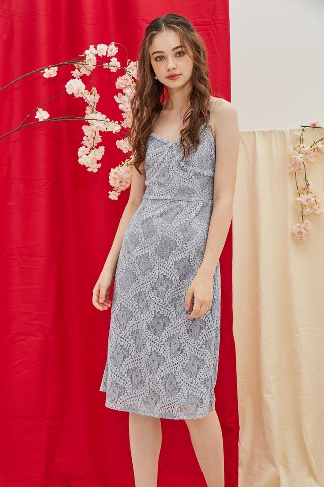 Janel Premium Bustier Lace Midi Dress in Lavender Grey