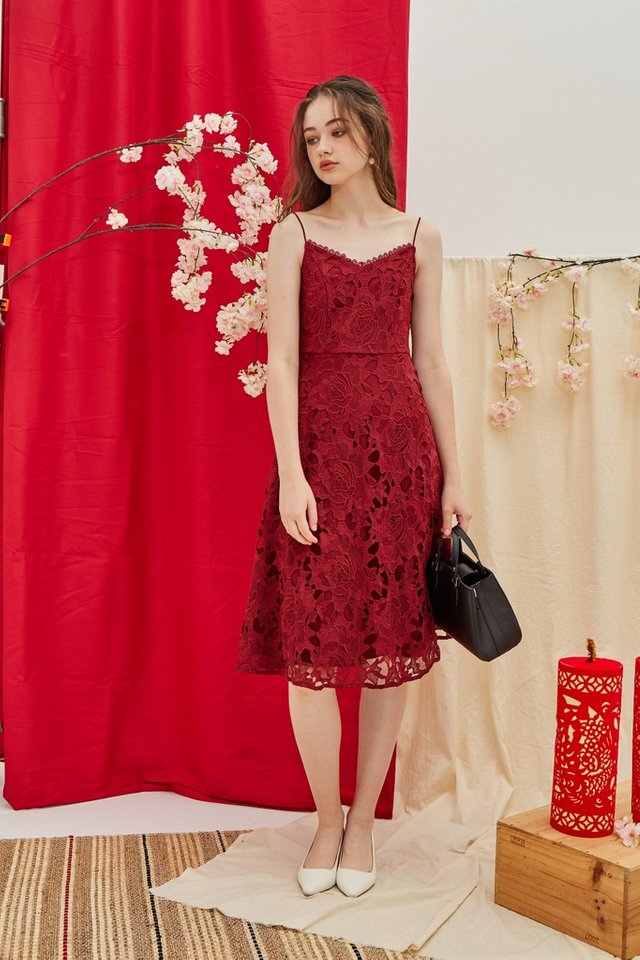 Norah Premium Crochet Midi Dress in Wine
