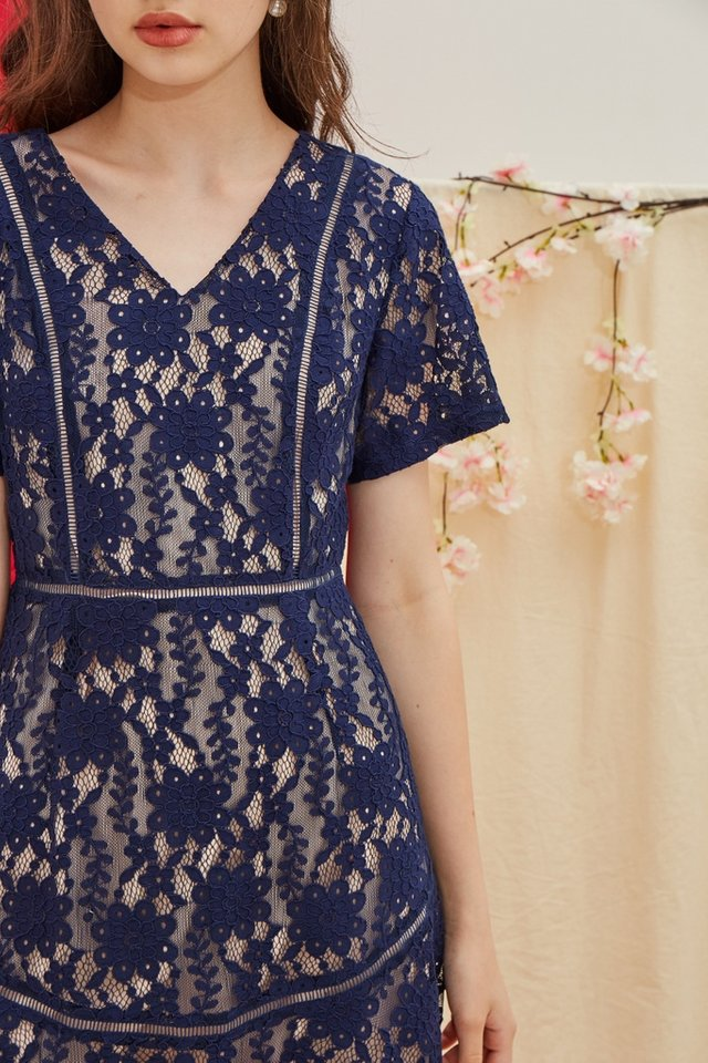 Quinn Premium Lace Dress in Navy