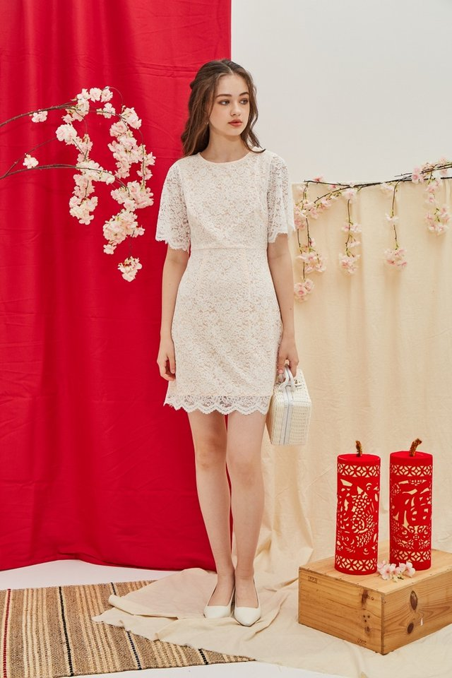 Helene Premium Lace Sleeves Dress in White