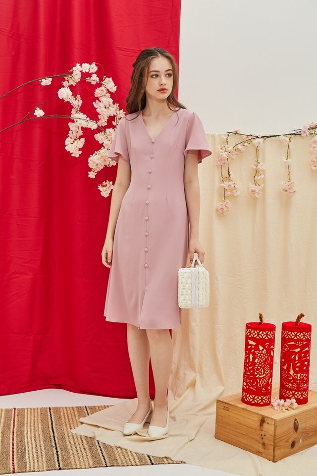 Taylee Button Midi Dress in Pink