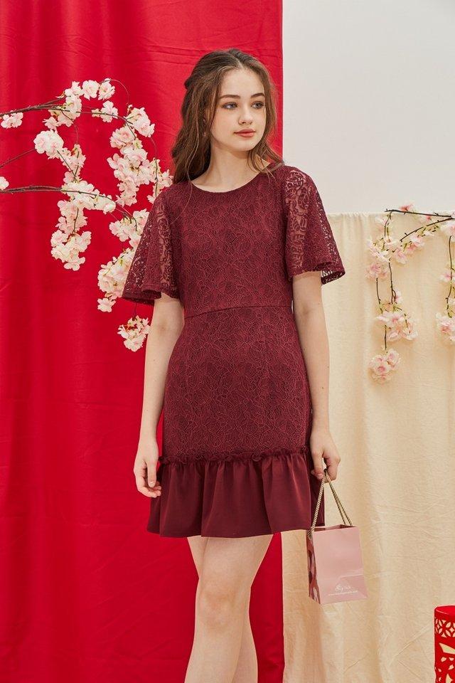 Pearle Premium Lace Ruffled Hem Dress in Maroon